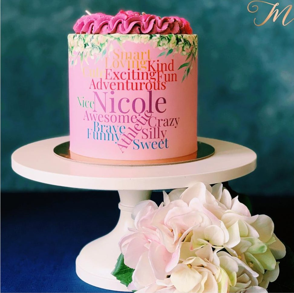 Word Cloud Cake Nicole